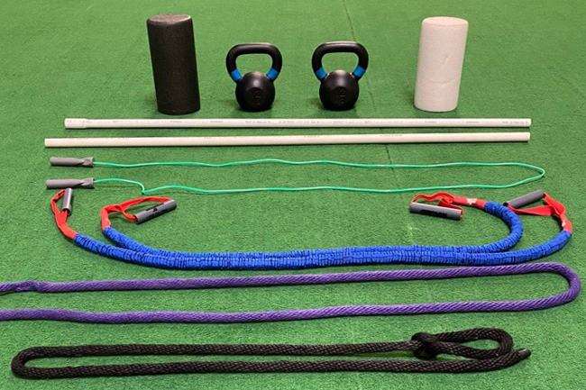 Assorted equipment that is ideal for at-home workouts